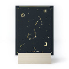 Cuss Yeah Designs Scorpio Constellation in Gold Mini Art Print