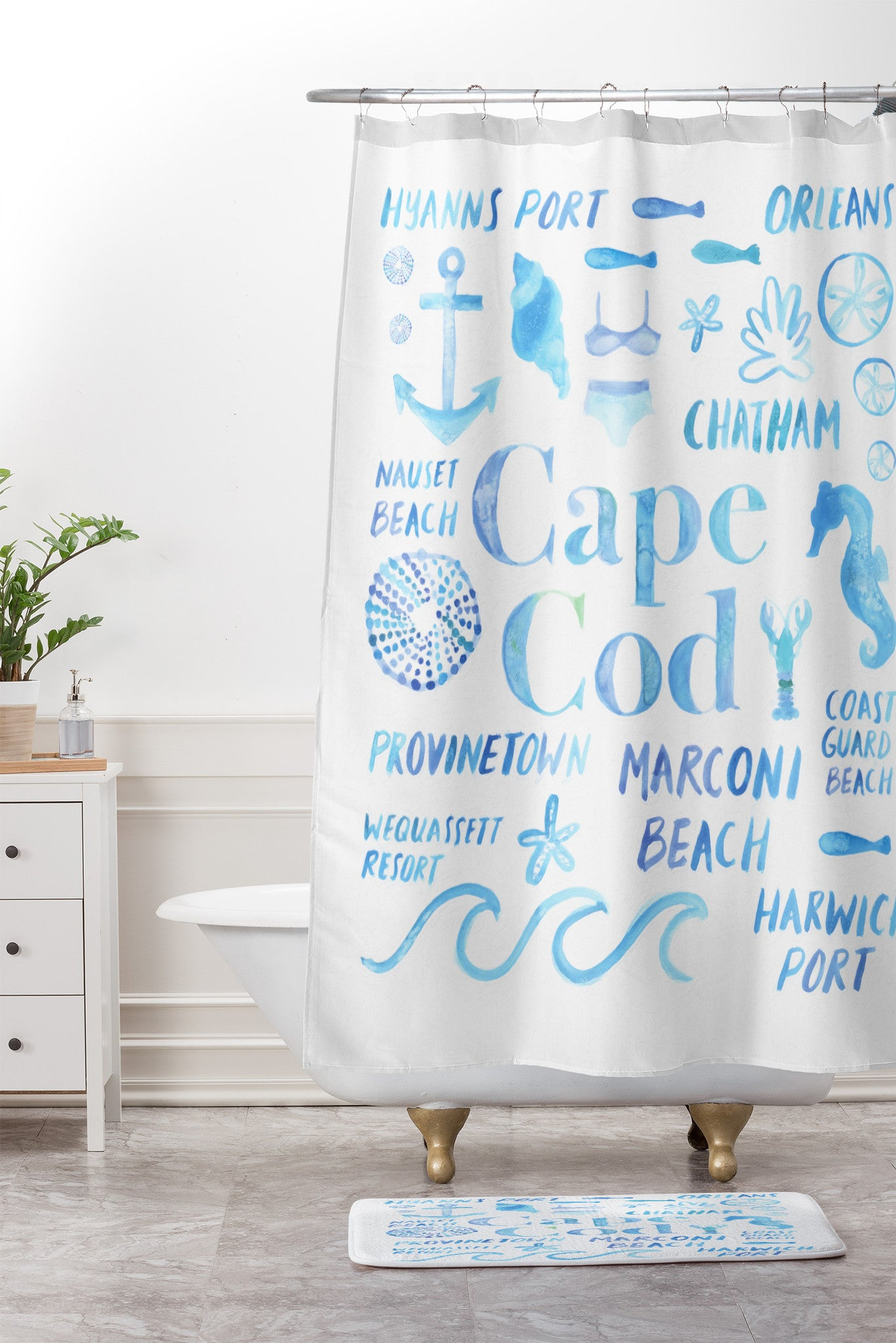 Dash And Ash Beach Collector Cape Cod Shower Curtain Mat