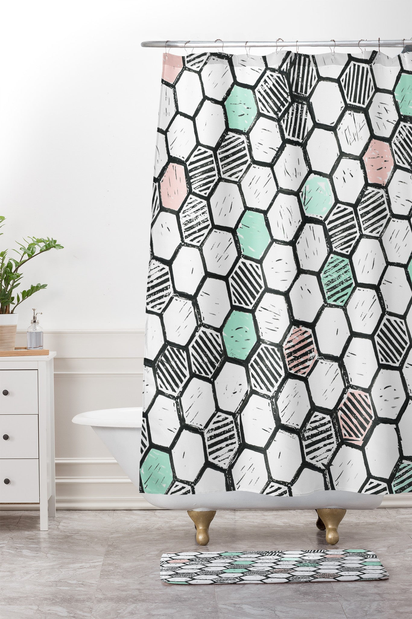 Dash And Ash Honeycomb Block Print Shower Curtain Mat
