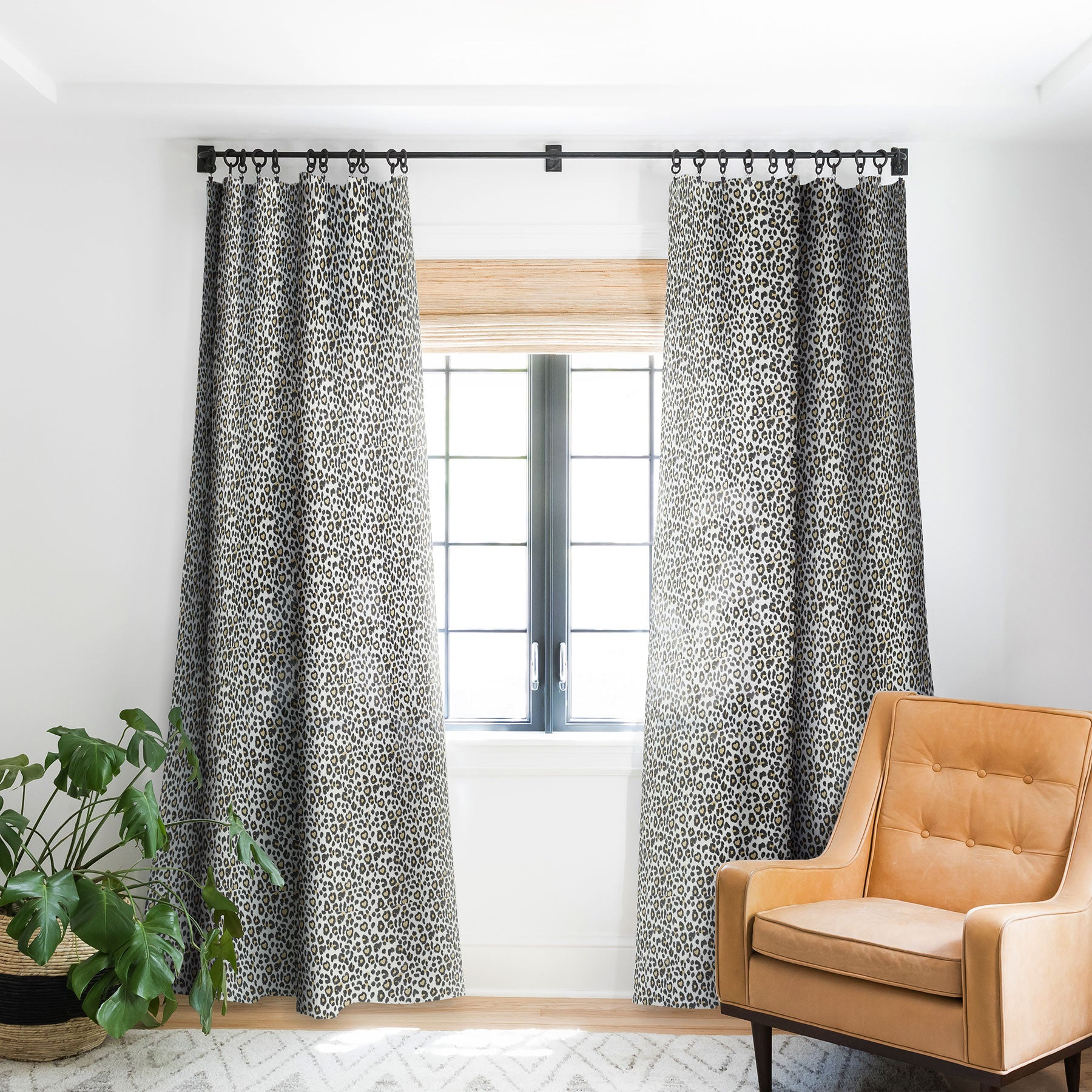 Leopard Heart Blackout Window Curtain Dash And Ash