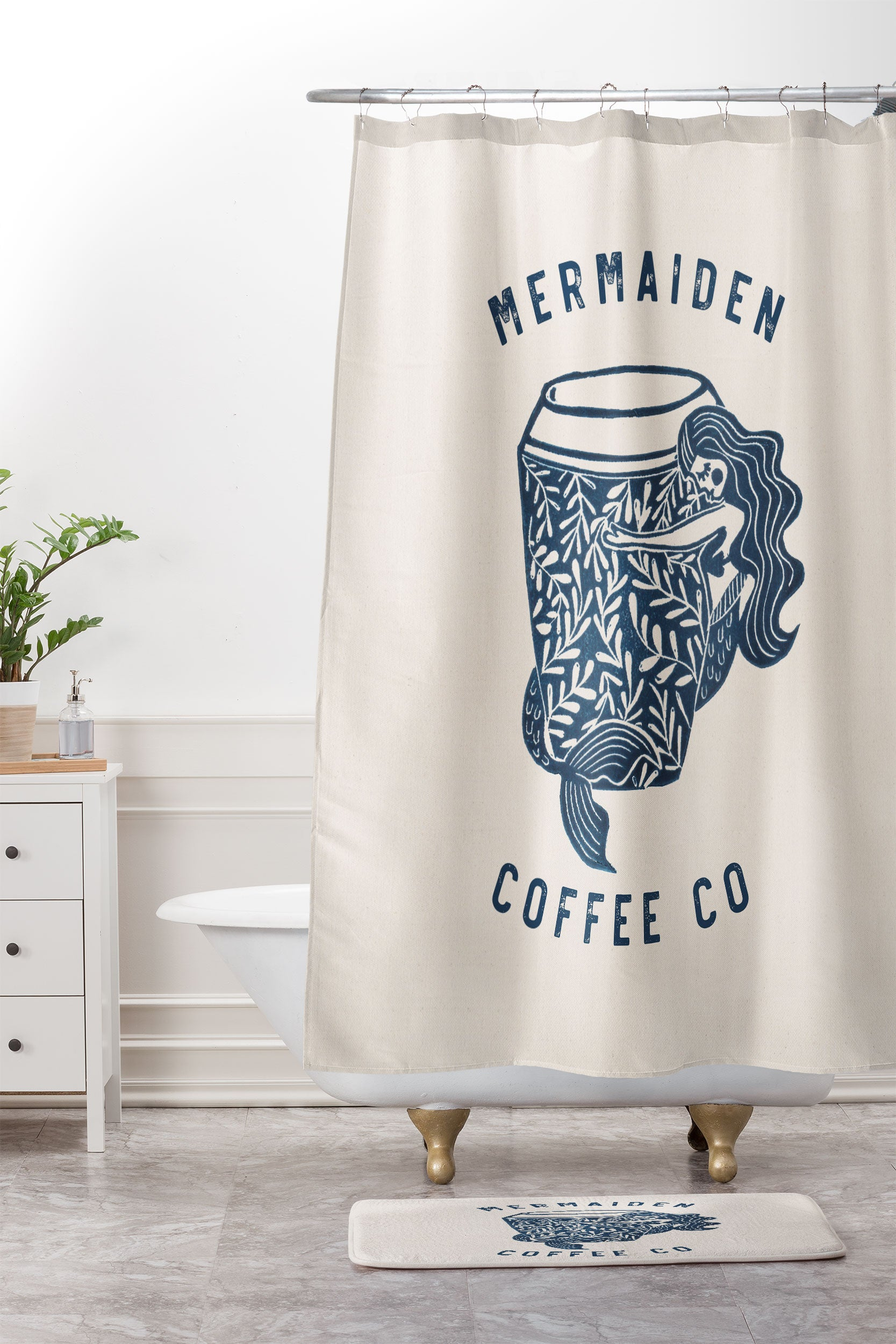 Dash And Ash Mermaiden Coffee Co Shower Curtain Mat