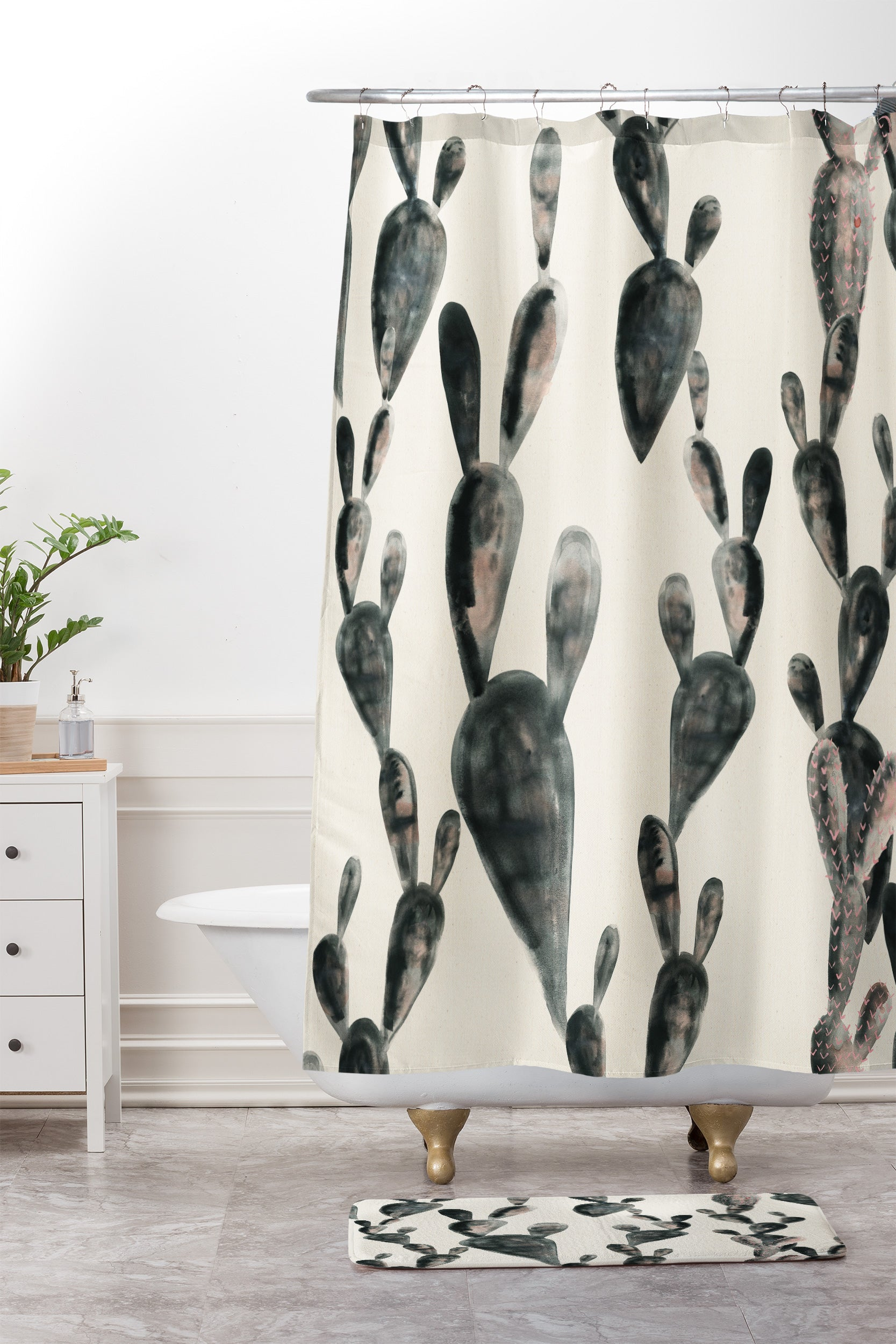 Dash And Ash Midnight Cacti Shower Curtain Mat