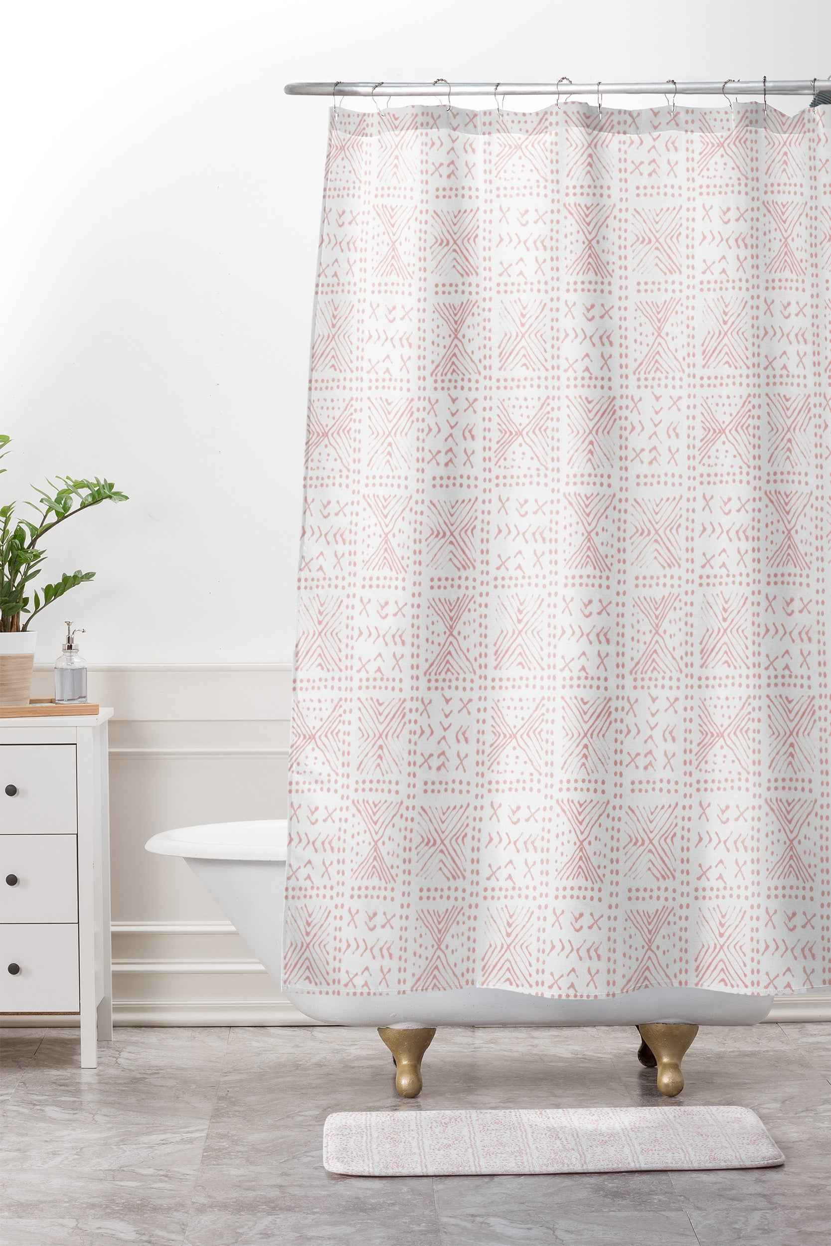 Rose Bud Mud Cloth Shower Curtain And Mat Dash And Ash