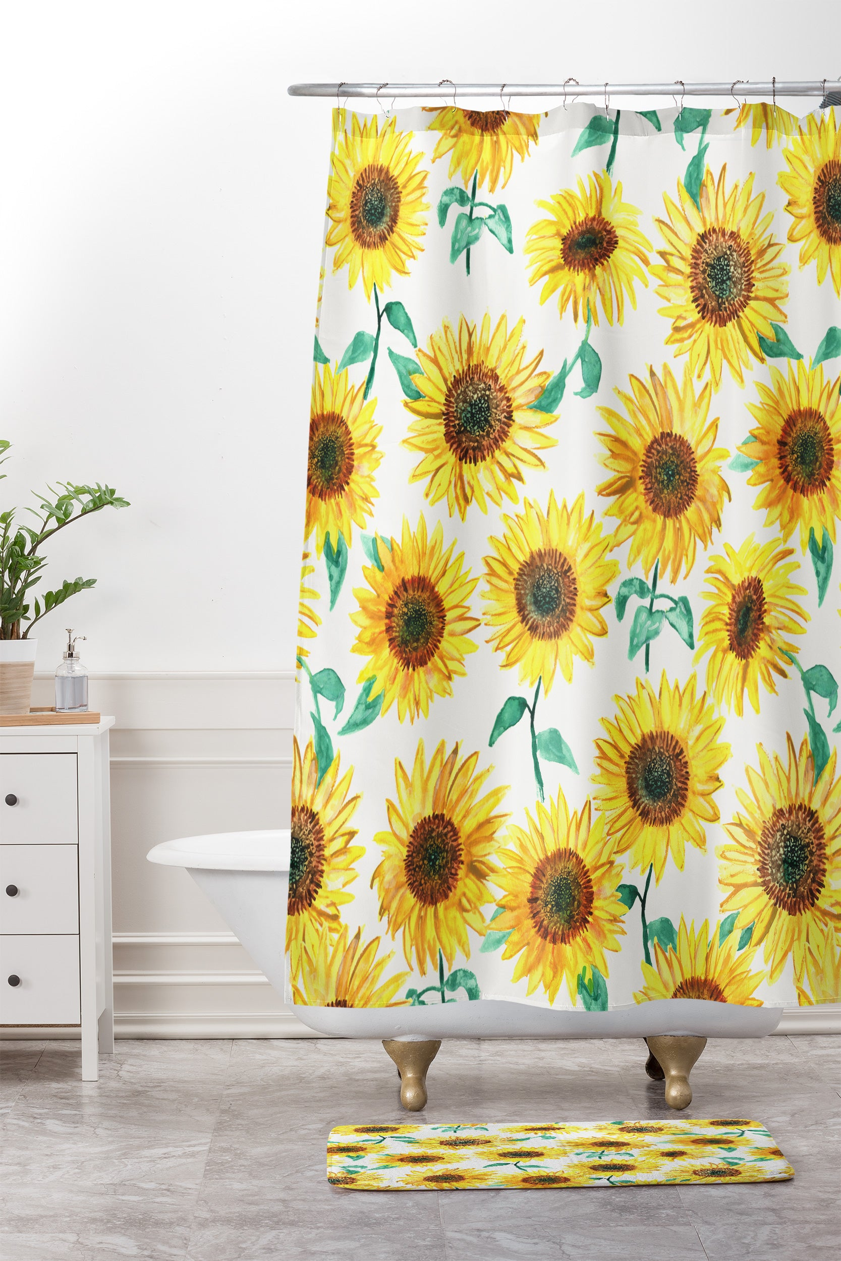 Dash And Ash Sunny Sunflower Shower Curtain Mat