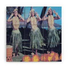 Deb Haugen Hula Blue Wood Wall Mural