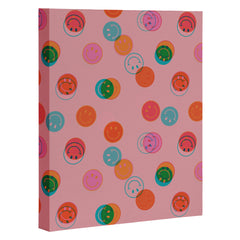 Doodle By Meg Smiley Face Print in Pink Art Canvas