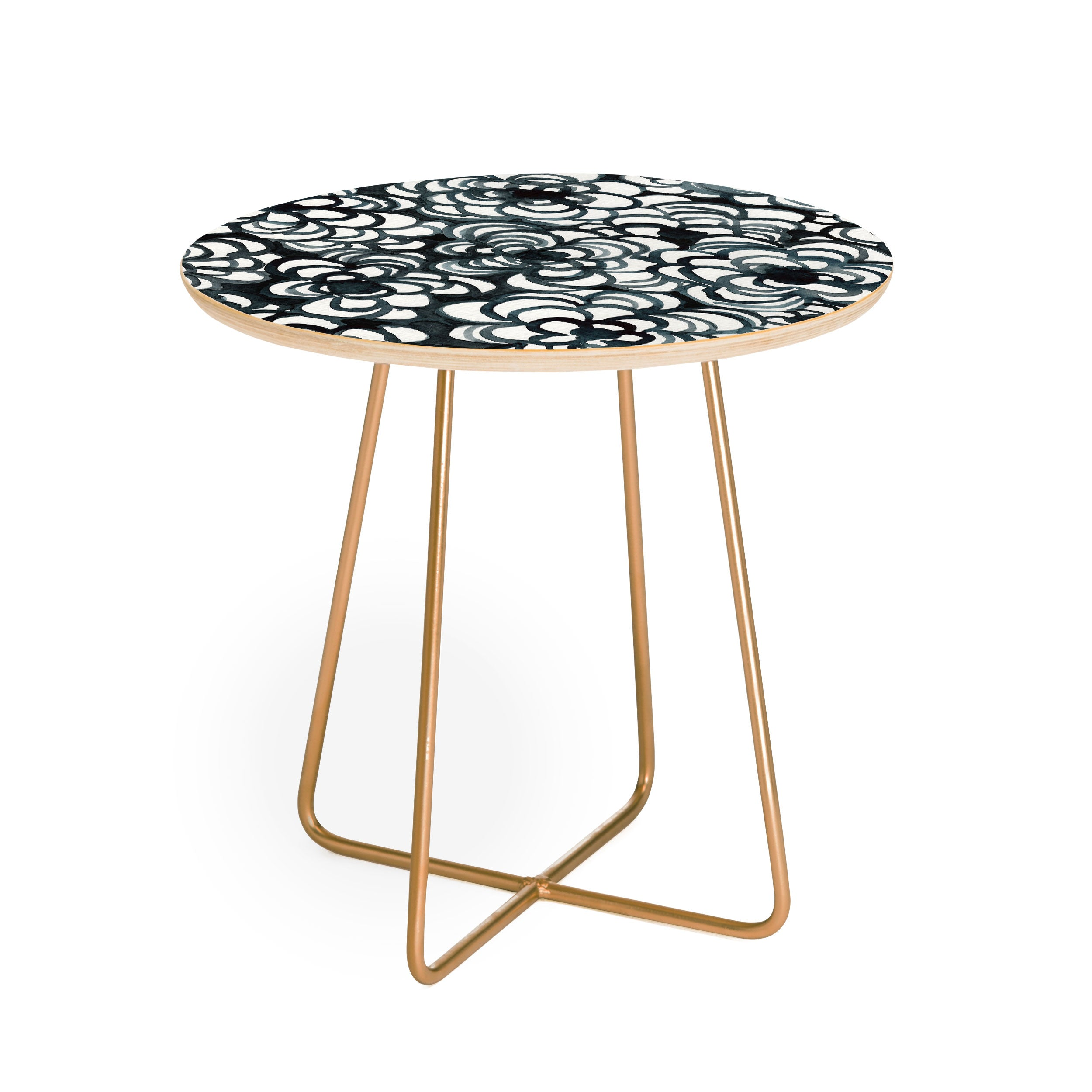 Elena Blanco Black roses Round Side Table