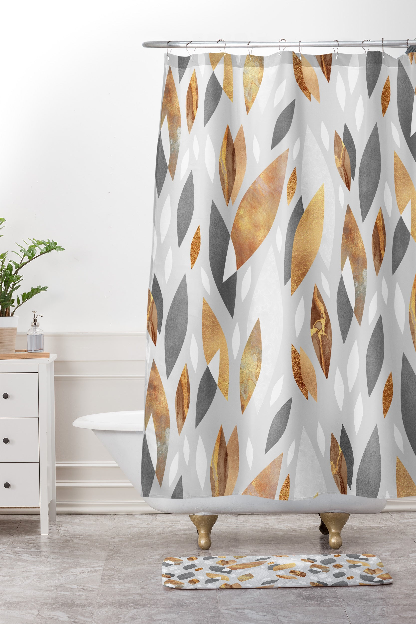 Elisabeth Fredriksson Falling Gold Leaves Shower Curtain And Mat