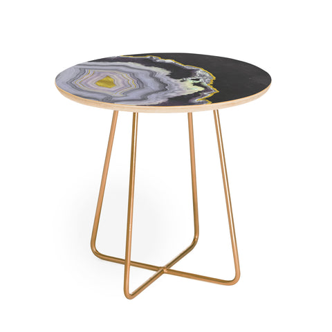 Black And Gold Agate. Round Side Table