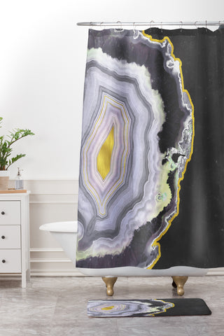 Emanuela Carratoni Black And Gold Agate Shower Curtain Mat
