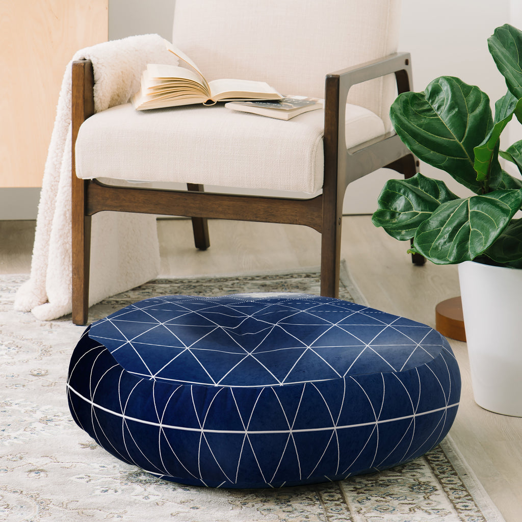 Emanuela Carratoni Blue Thunderstorm Floor Pillow Round Deny Designs Home Accessories