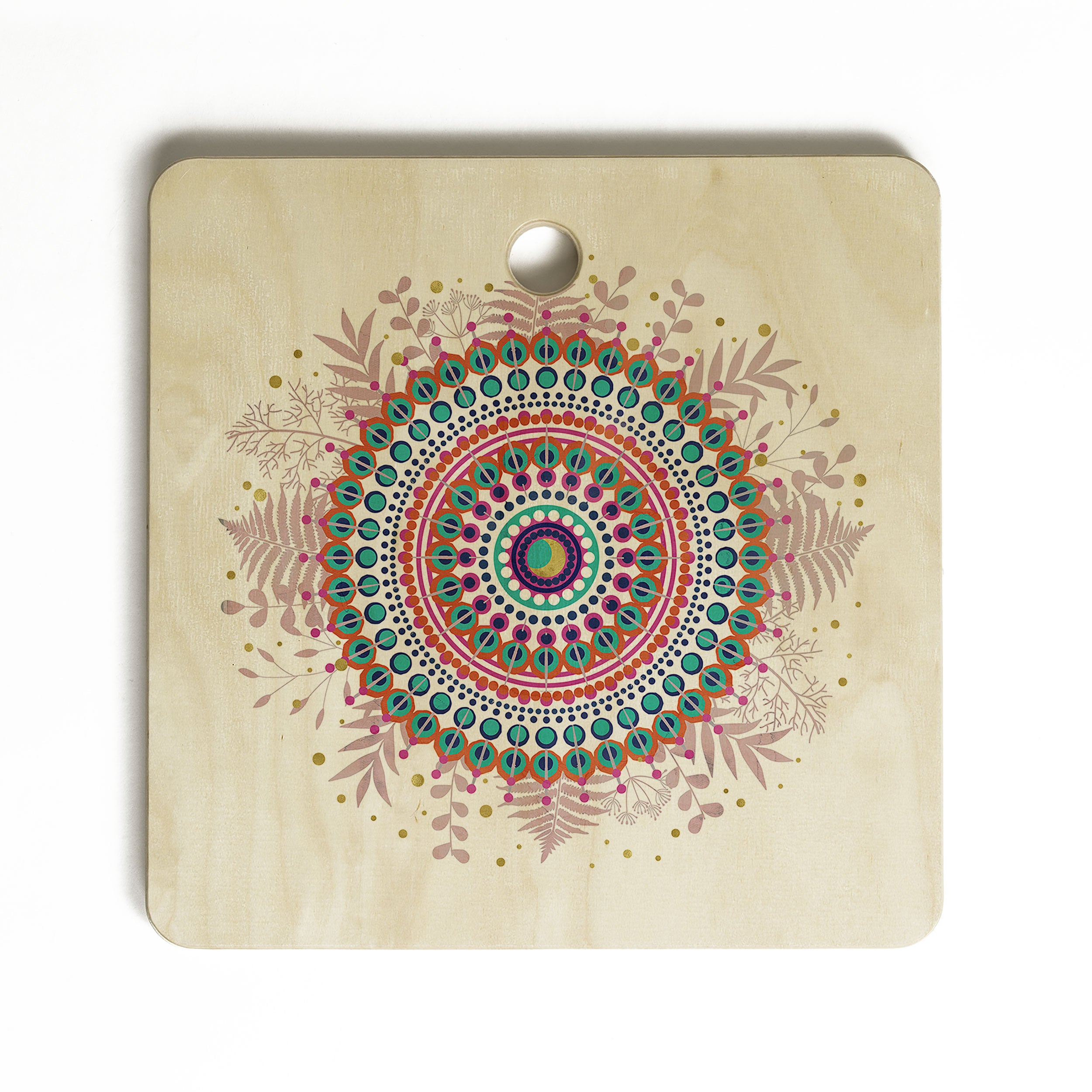 Emanuela Carratoni Boho Mandala Cutting Board Square