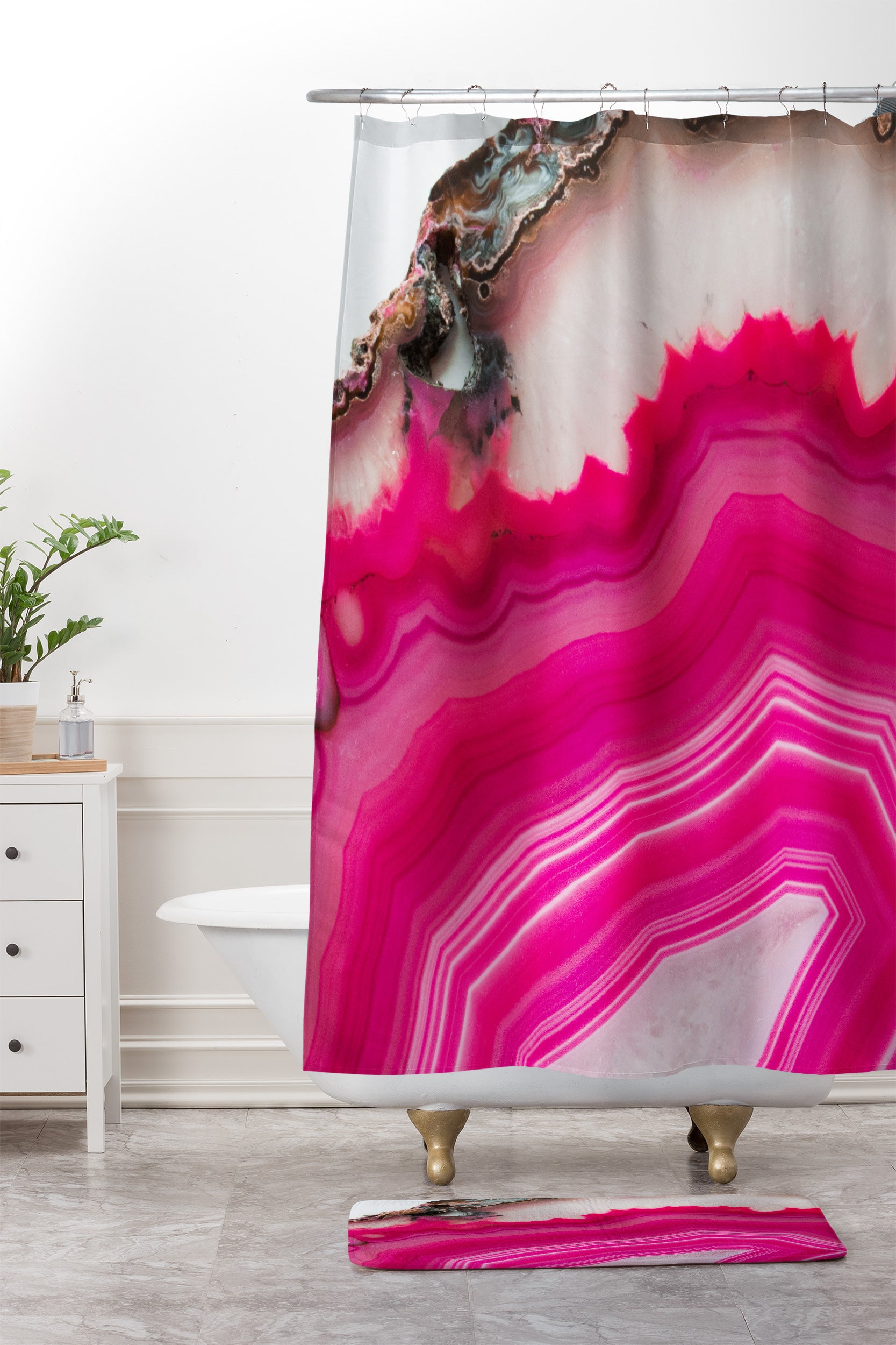 Emanuela Carratoni Bold Pink Agate Shower Curtain And Mat