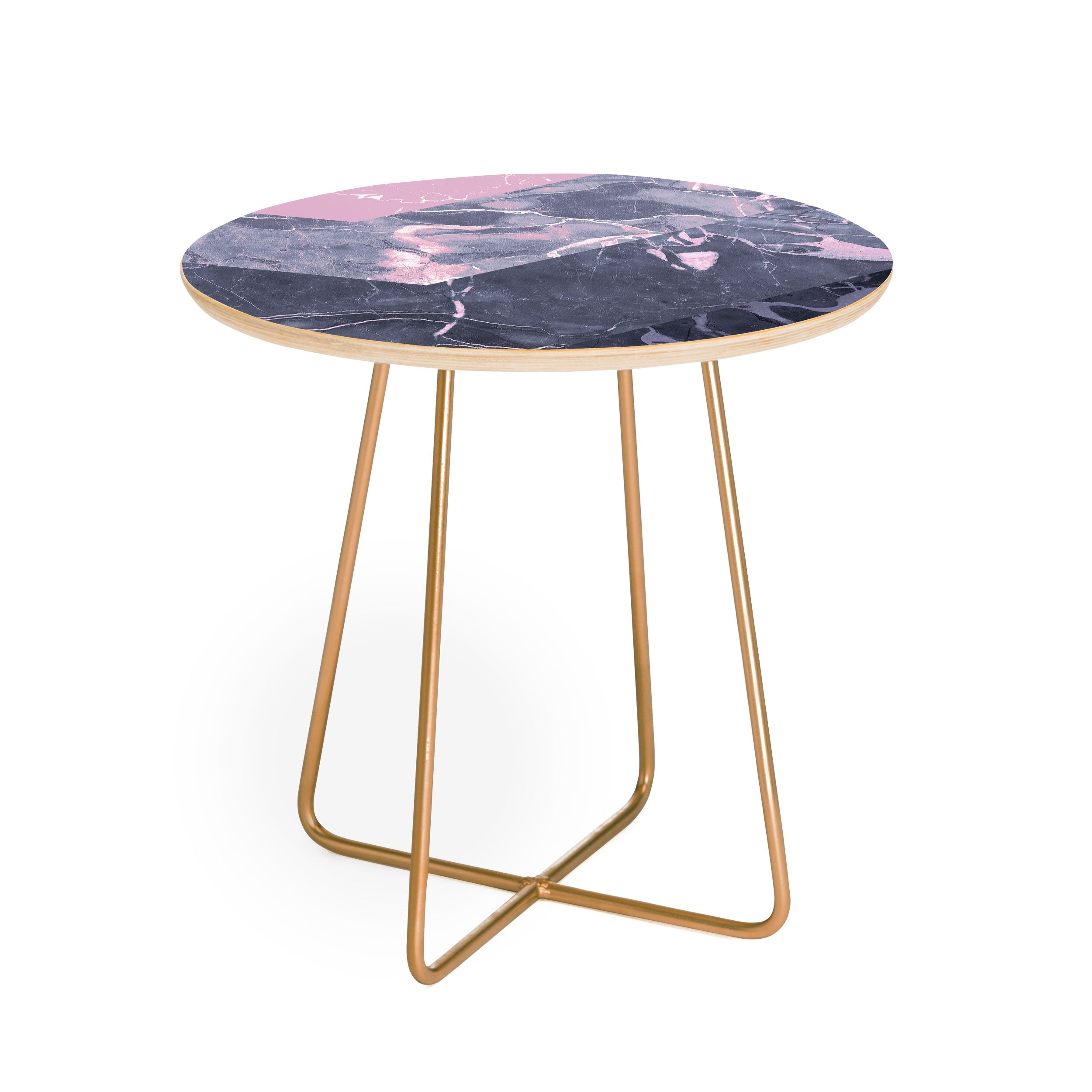 Emanuela Carratoni Chevron Marble Texture Round Side Table