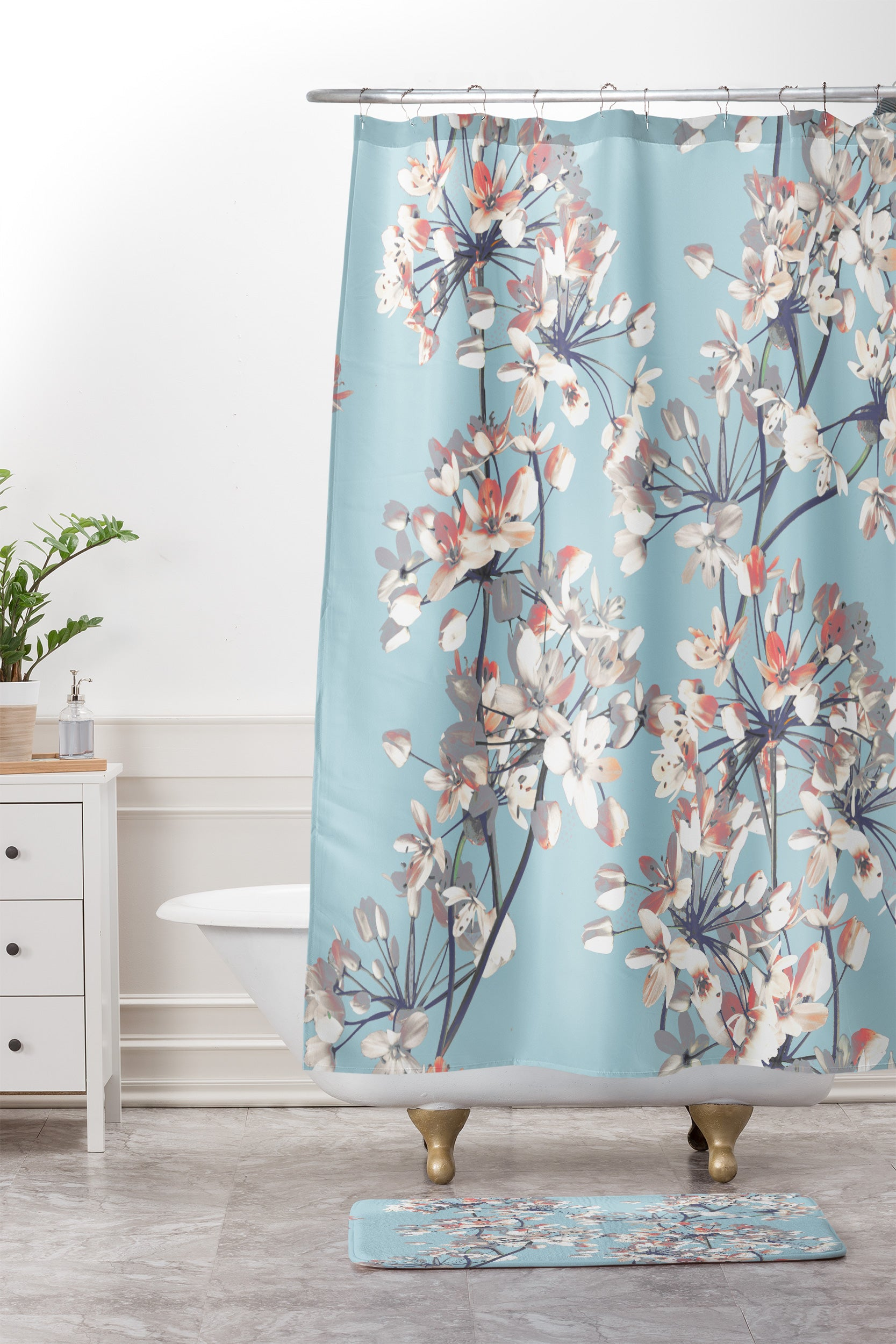 Delicate Flowers Pattern On Light Blue Shower Curtain And Mat ...