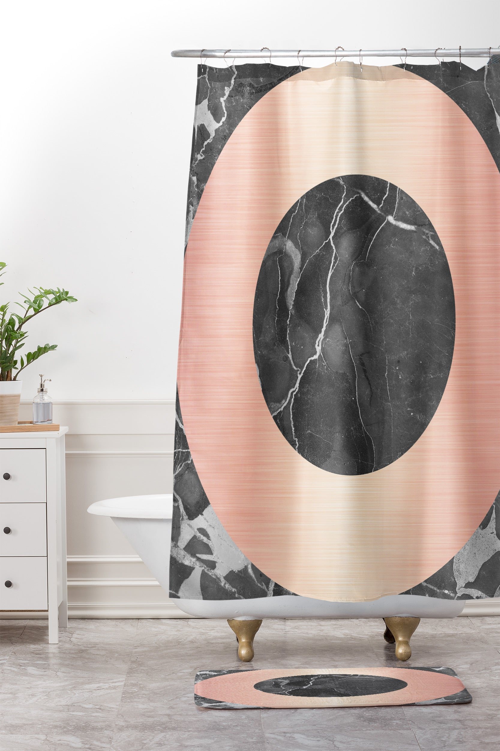 Grey Marble With A Pink Circle Shower Curtain And Mat Emanuela Carratoni