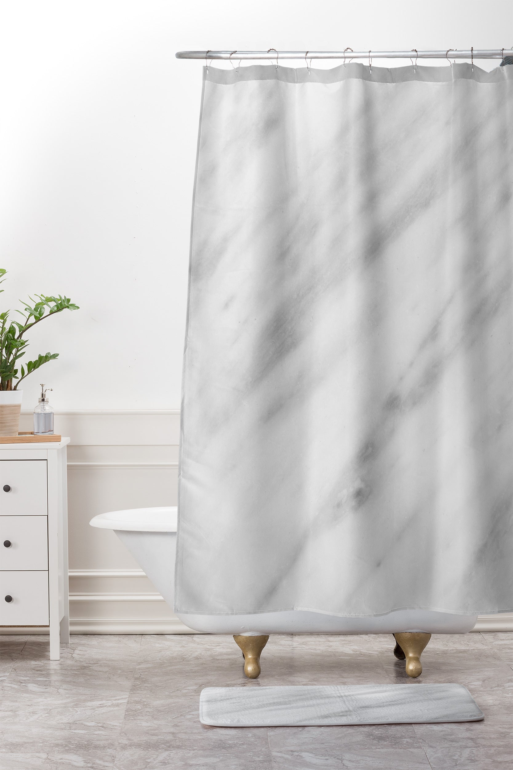 Emanuela Carratoni Italian Marble Carrara Shower Curtain And Mat