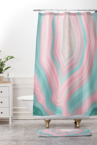 Emanuela Carratoni Pink And Teal Agate Shower Curtain Mat