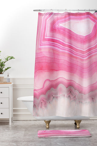Emanuela Carratoni Sweet Pink Agate Shower Curtain And Mat