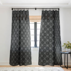 Fimbis Circle Squares Black and White Sheer Window Curtain