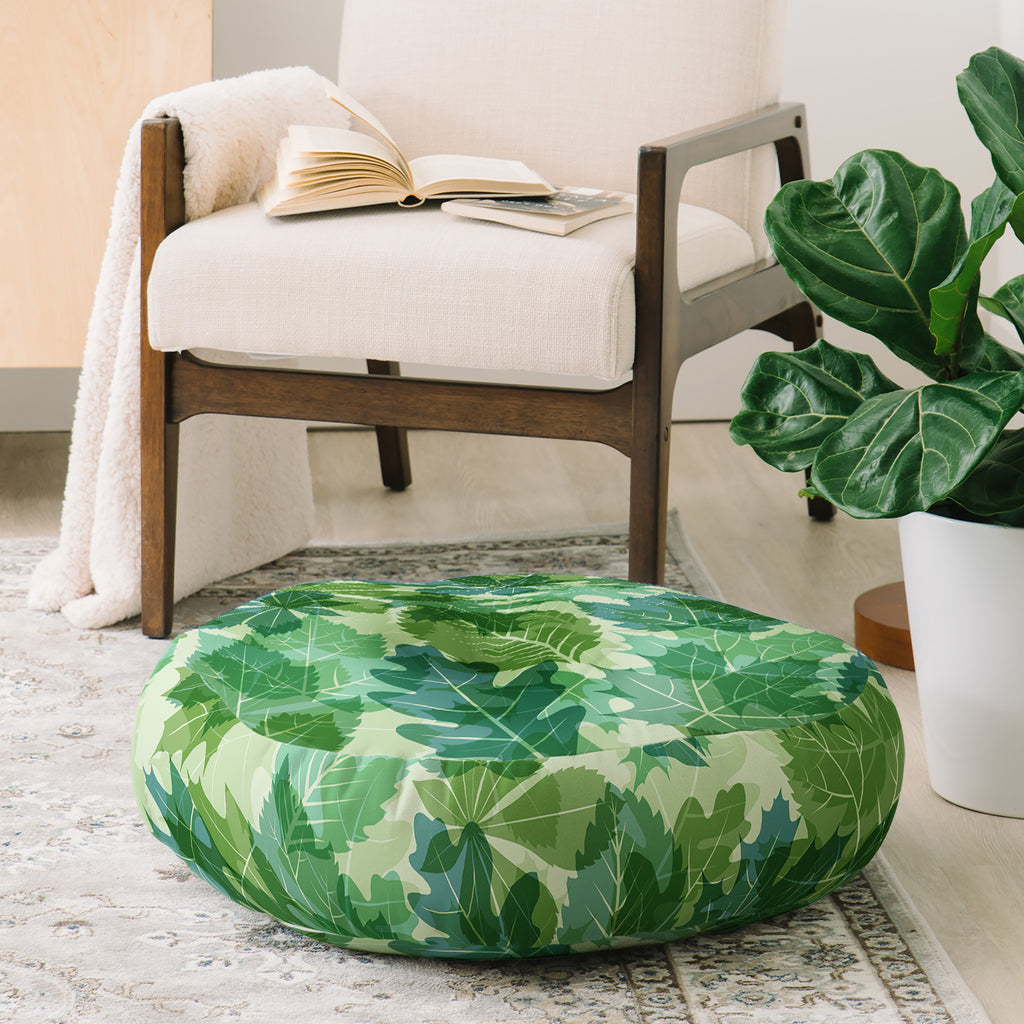 Fimbis Leaves Green Floor Pillow Round DENY Designs Home Accessories