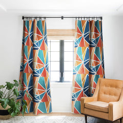 Fimbis Mosaic Blues Oranges Blackout Window Curtain