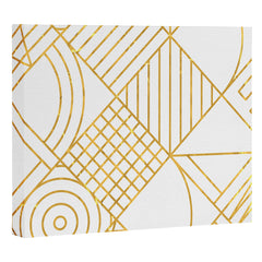 Fimbis Whackadoodle White and Gold Art Canvas