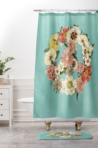 Botanica Peace Sign Shower Curtain And Mat