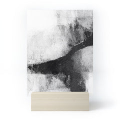 GalleryJ9 Black and White Textured Abstract Painting Delve 2 Mini Art Print