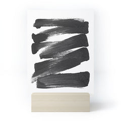 GalleryJ9 Black Brushstrokes Abstract Ink Painting Mini Art Print