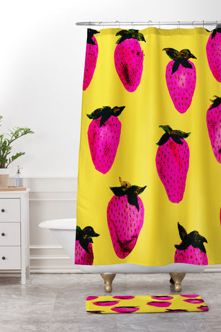 Georgiana Paraschiv Strawberries Yellow And Pink Shower Curtain Mat