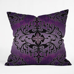Gina Rivas Design Purple Romance Outdoor Throw Pillow