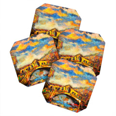 Ginette Fine Art 16 Railto Bridge Coaster Set