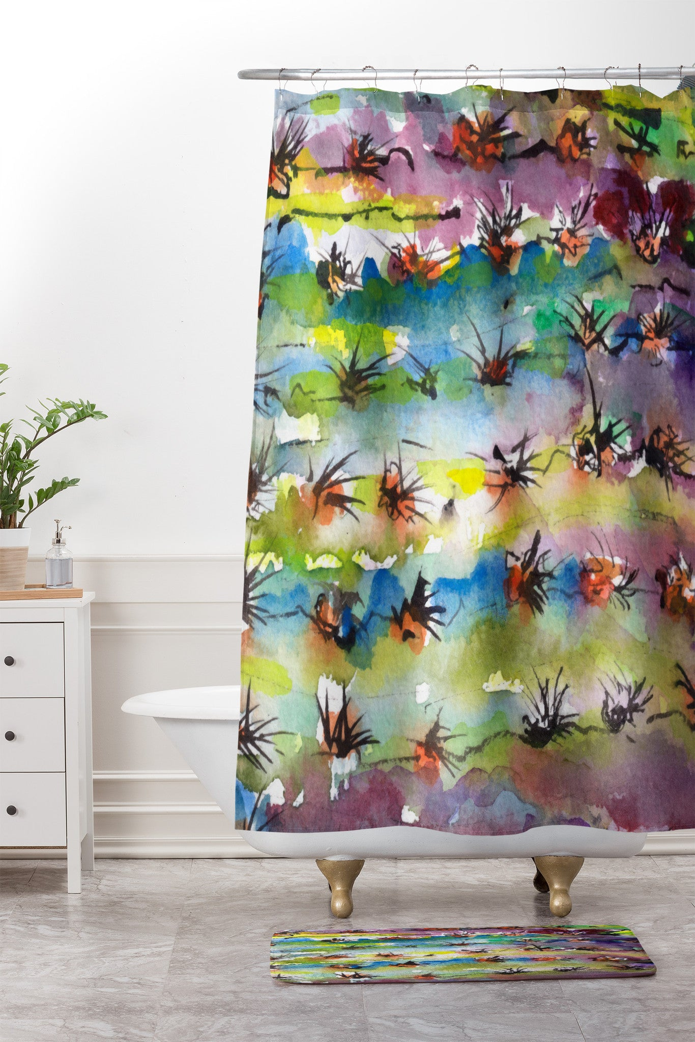 Ginette Fine Art Abstract Cactus Shower Curtain And Mat