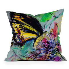 Ginette Fine Art Expressive Black Butterfly Throw Pillow