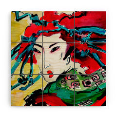 Ginette Fine Art Japanese Woman Wood Wall Mural
