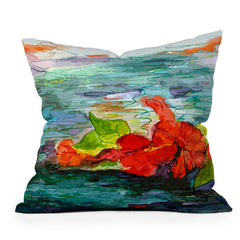Ginette Fine Art Pool Flowers Throw Pillow