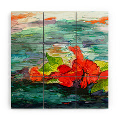 Ginette Fine Art Pool Flowers Wood Wall Mural