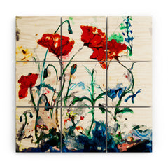 Ginette Fine Art Poppies In Light Wood Wall Mural