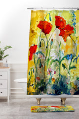 Ginette Fine Art Poppies Provence Shower Curtain And Mat