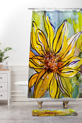 Ginette Fine Art Sunflower Yellow Ribbon Shower Curtain And Mat
