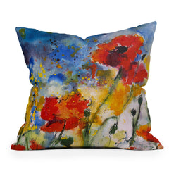 Ginette Fine Art Wildflowers Poppies 2 Throw Pillow