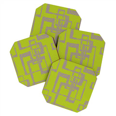 Gneural Broken Pipes Lime Coaster Set
