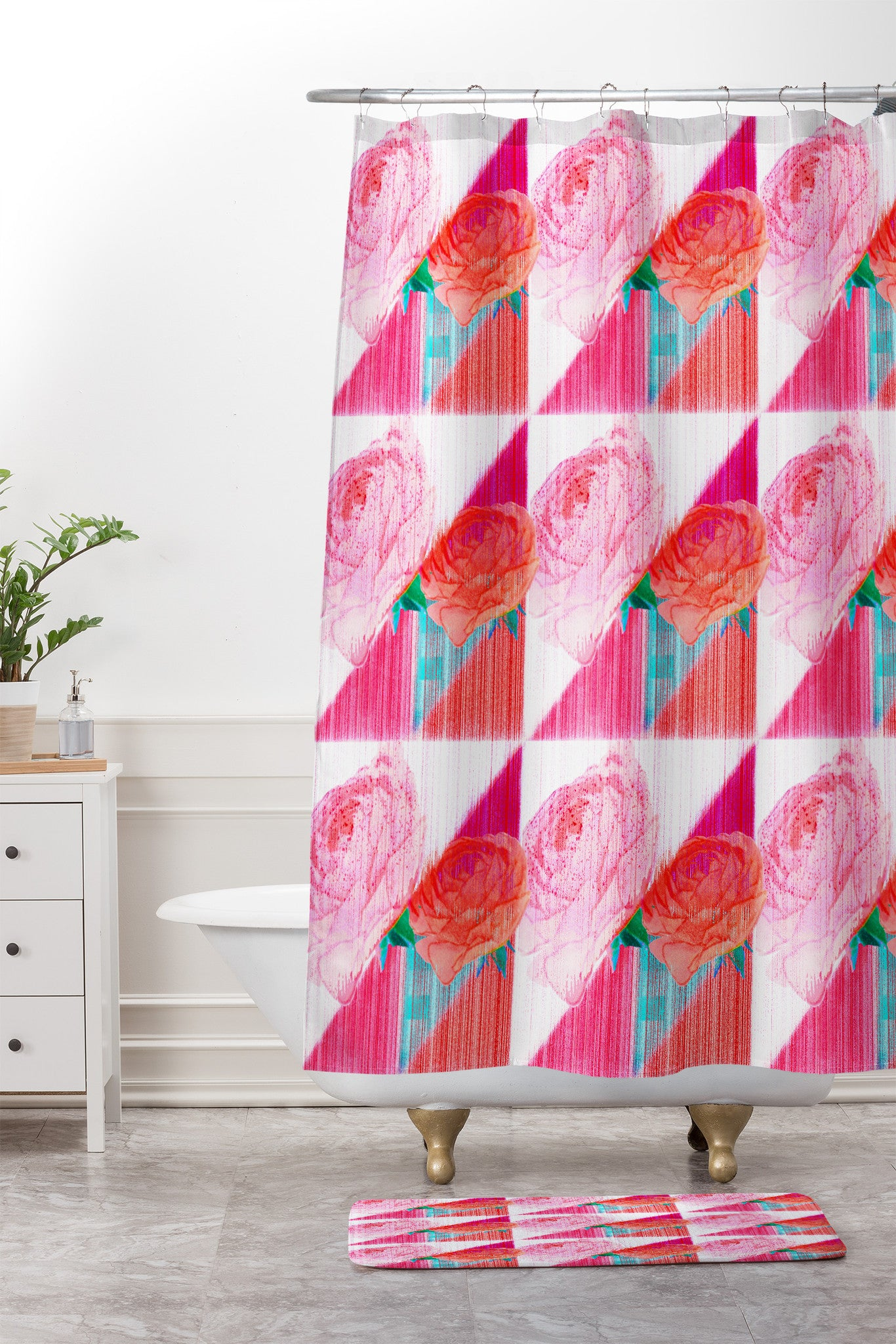 Hadley Hutton Floral Tribe Collection 1 Shower Curtain And Mat