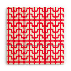 Hadley Hutton Lattice Jags Red Wood Wall Mural
