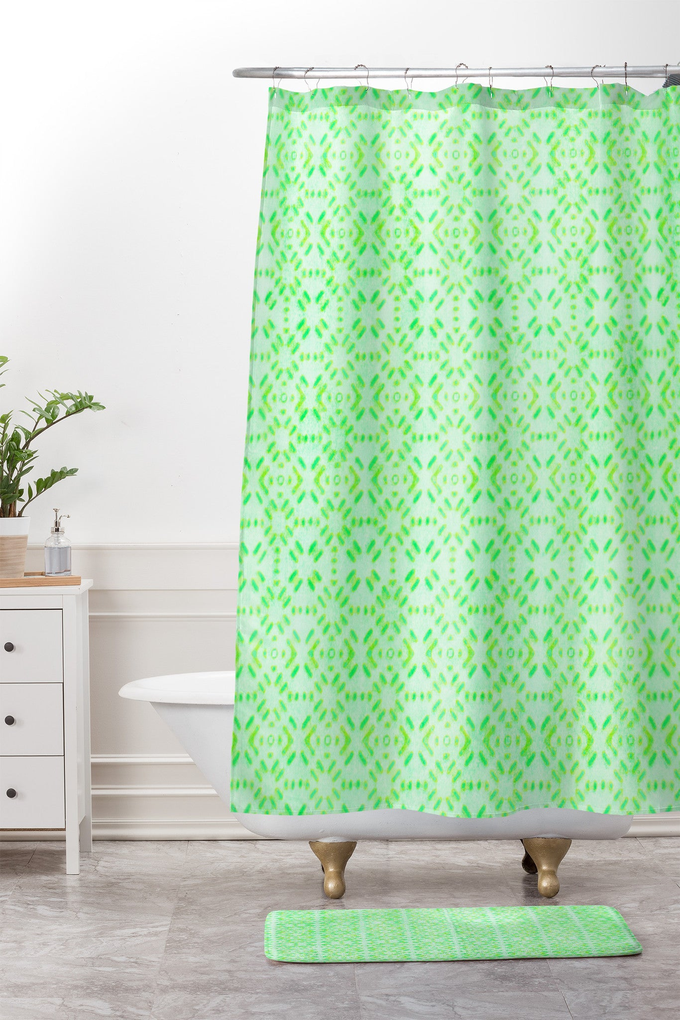 Hadley Hutton Succulent Collection 2 Shower Curtain And Mat
