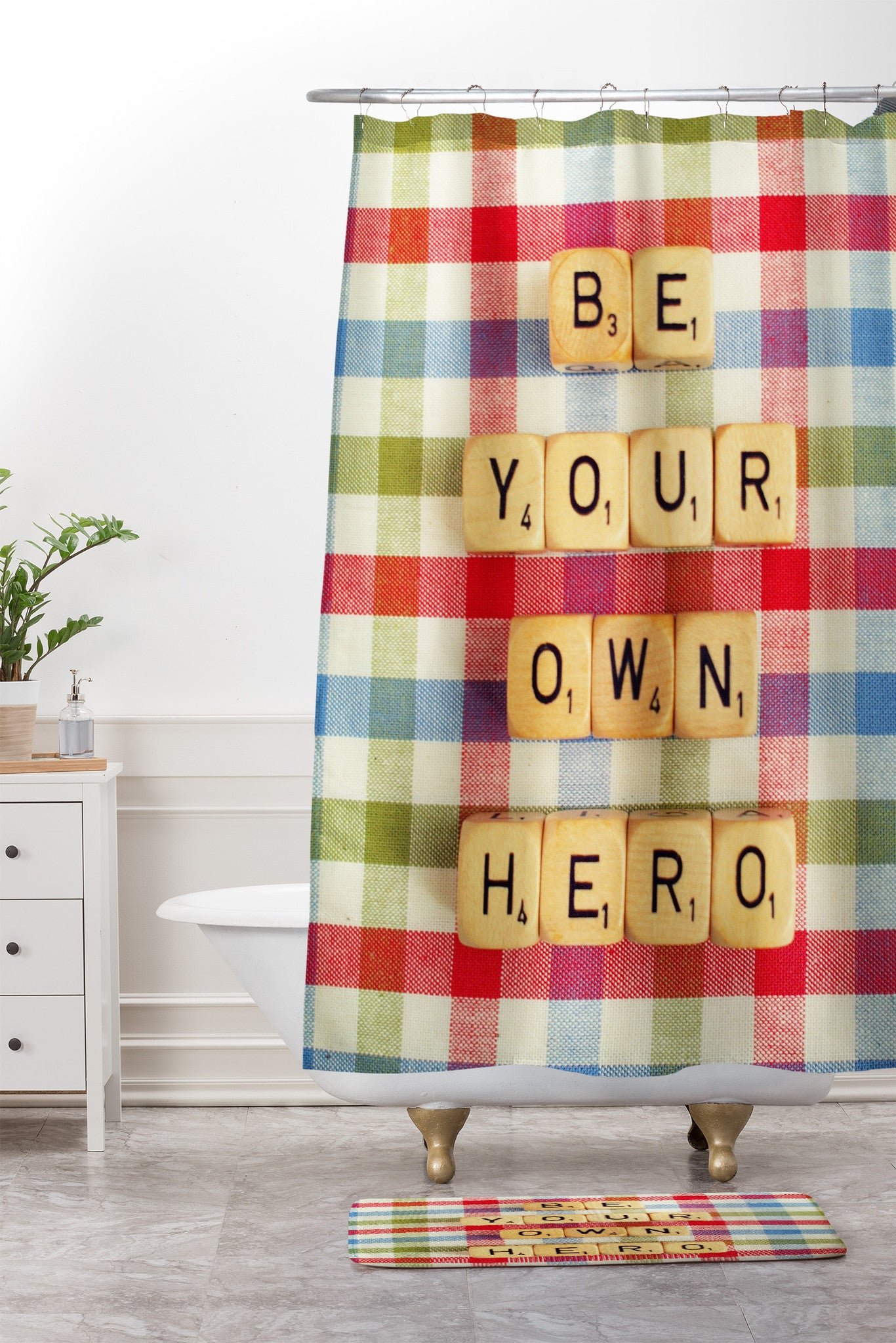 Be Your Own Hero Shower Curtain And Mat Happee Monkee