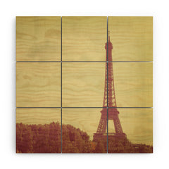 Happee Monkee Eiffel Tower Wood Wall Mural