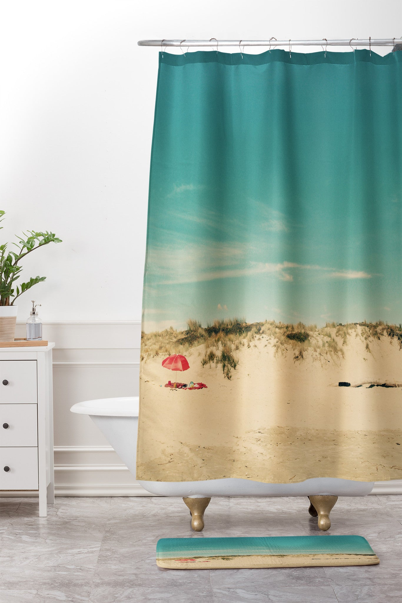 red and turquoise shower curtain.  Red Beach Umbrella Shower Curtain And Mat Happee Monkee