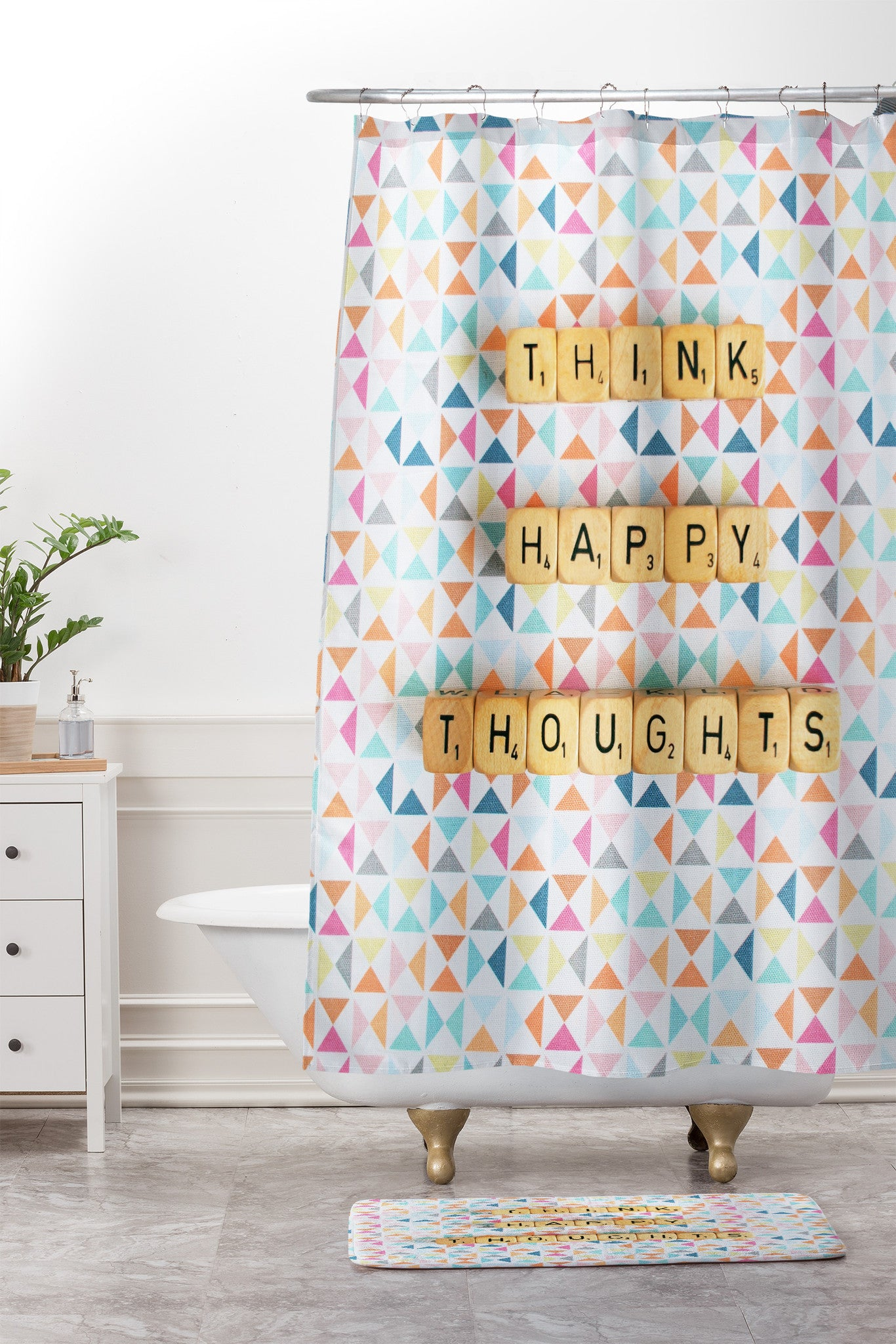 think happy thoughts shower curtain and mat happee monkee